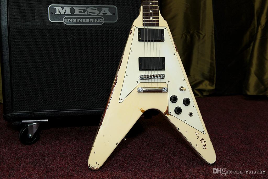Custom Shop Limited Run Metallica James Hetfield white Electra Kill em All Flying V Handmade Aged Relic (1981-Present) Electric Guitar