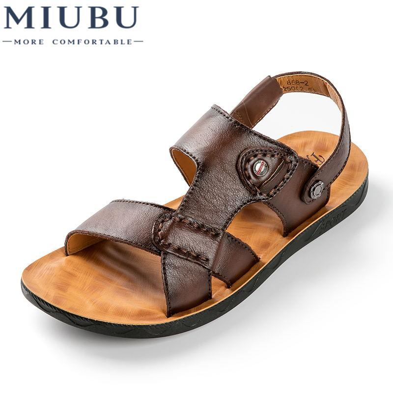 e0e46af489c9 2019 MIUBU Men Genuine Leather Sandals Fashion Breathable Male Leather  Sandal Summer Men Beach Shoes Beach Sandals Slippers Ladies Sandals Girls  Sandals ...