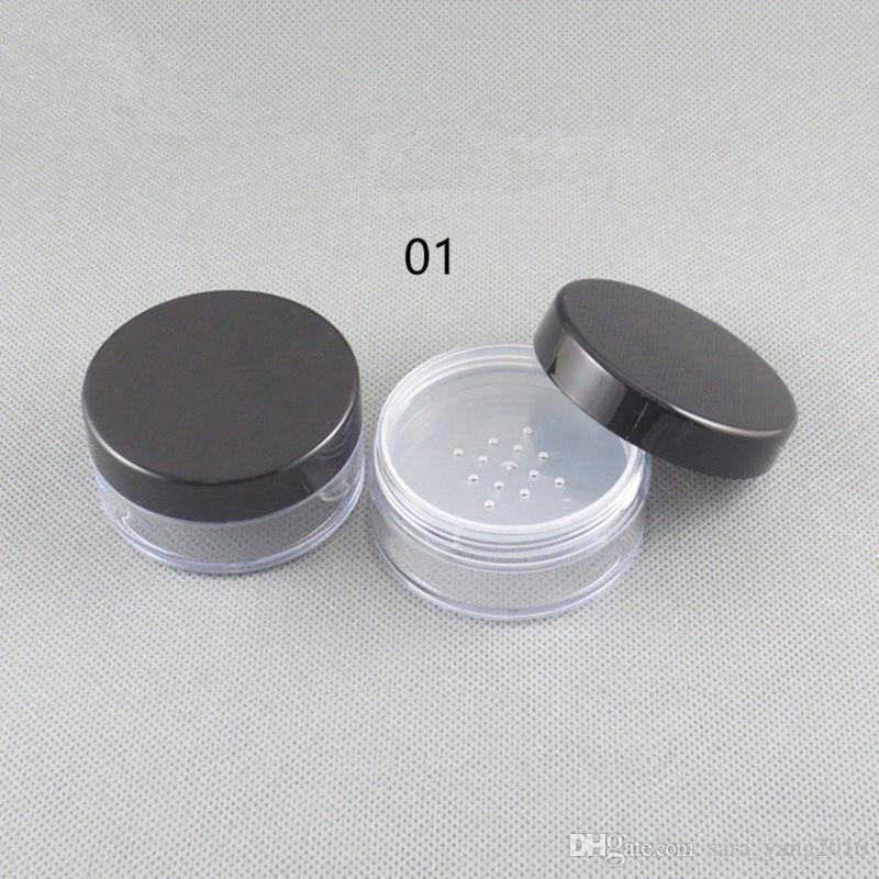 transparente claro vacío PS polvo suelto sifter caja contenedores de botellas, tamiz contenedor plástico de plástico frasco wen5541