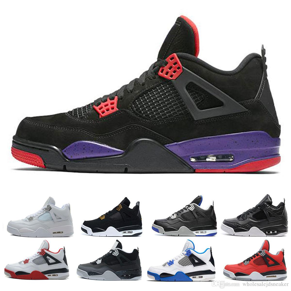 best loved 8f6ff 0378d Acquista Nike Air Jordan Retro 4 Shoes Travis Houston Blu 4 Raptors 4s Uomo  Scarpe Da Basket Puro Denaro Black Cat Cemento Bianco Bred Fire Red Fear  Scarpe ...
