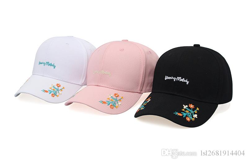 2018 floral letter embroidery cotton Casquette Baseball Cap Adjustable Snapback Hats for men and women 169