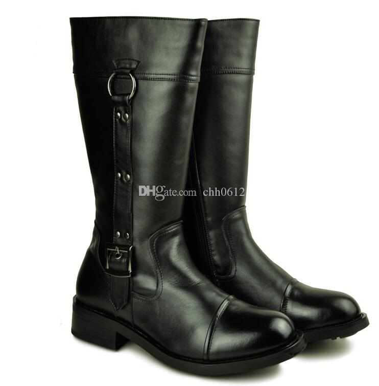 88596dd8509 Genuine Leather Men Long Boots 2017 New Winter Knee High Motorcycle Combat  Boots Spring Autumn Man Buckle Riding Army Boots Platform Boots Chelsea Boot  From ...