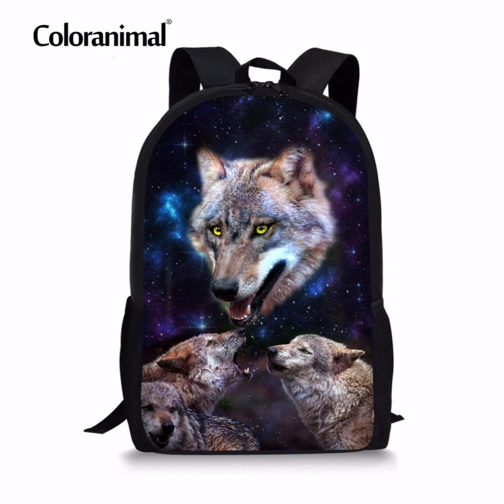 a6529f83f732 Coloranimal School Bag for Girl Teenagers Cool Animal Wolf Print Children  Infant Kids Backpack Boys Universe Schoolbags