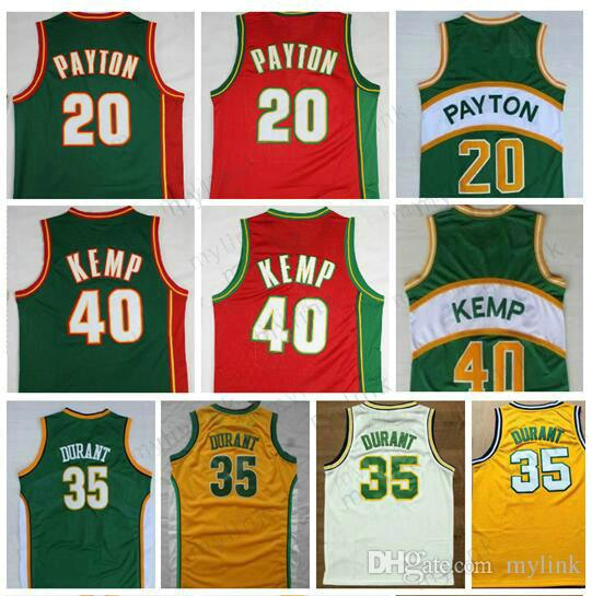 4e08571ce1dc 2019 Best Quality Cheap Seattle SuperSonics  20 The Glove Gary Payton Jersey   40 Reign Man Shawn Kemp Jersey  35 Kevin Durant White Yellow Green From  Mylink ...