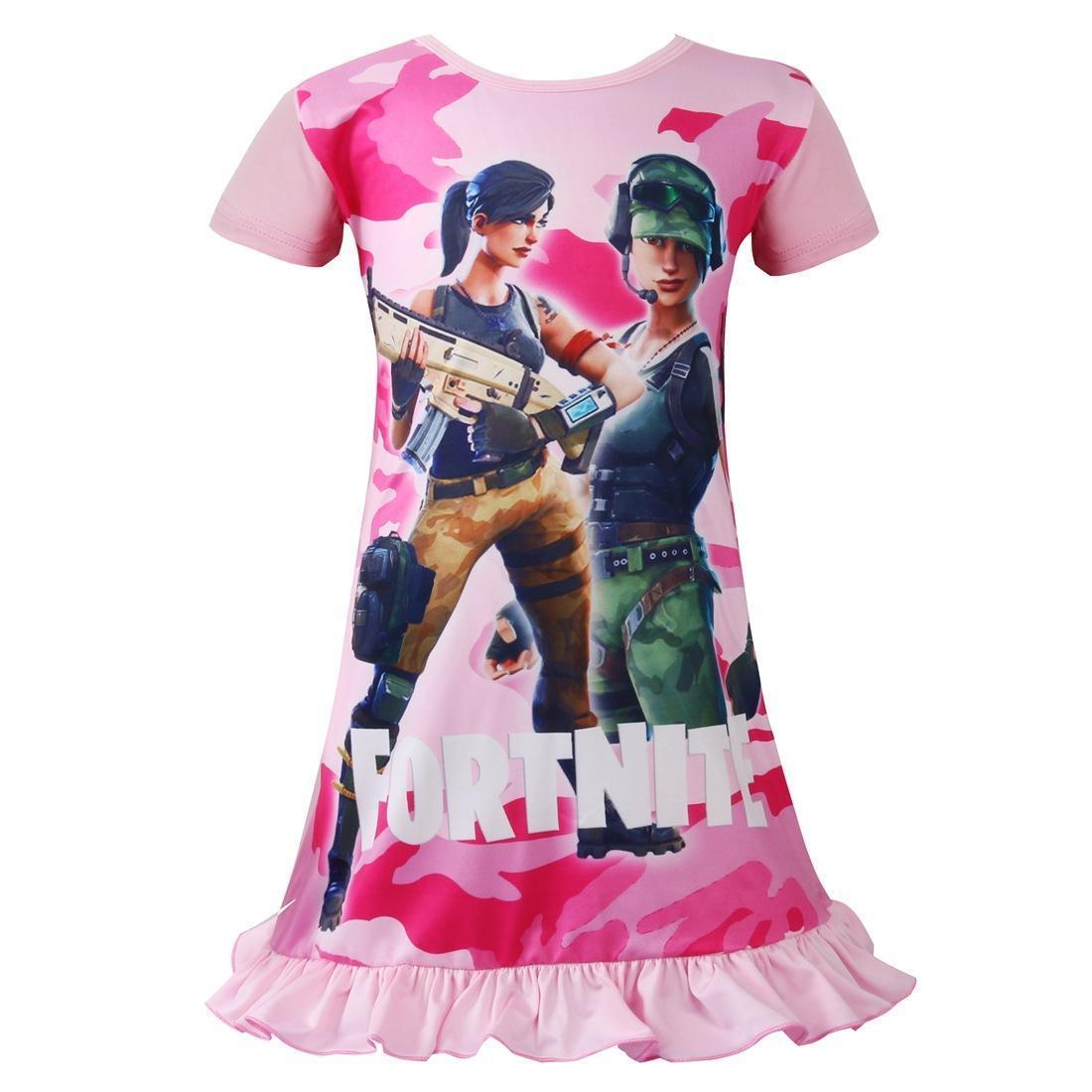 2c8a5bfc748db Acheter 2018 Jolies Filles Fortnite Robe Rose Princesse 3 8 T Été Longue  Bande Dessinée Lutos Lesf Manches Courtes Pyjama Robe Petites Filles  Vêtements De ...