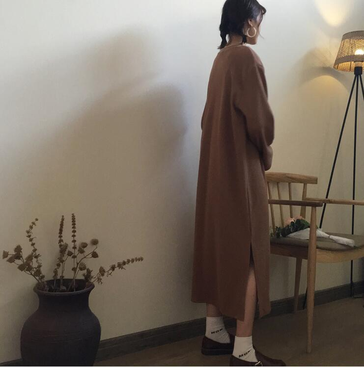 2018 Autumn Winter Dress Long Pullovers Solid Color Women Japanese Mori Girl Long Sleeve Thin Dress Lazy Casual Women Dress