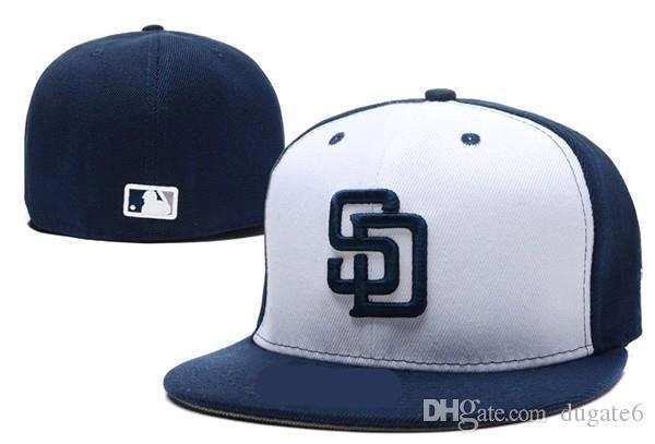 Sıcak Serin erkek Padres donatılmış şapka gri üst siyah vizör düz Brim embroiered SD mektup takımı logosu hayranları beyzbol Şapka padres tam kapalı Chapeu