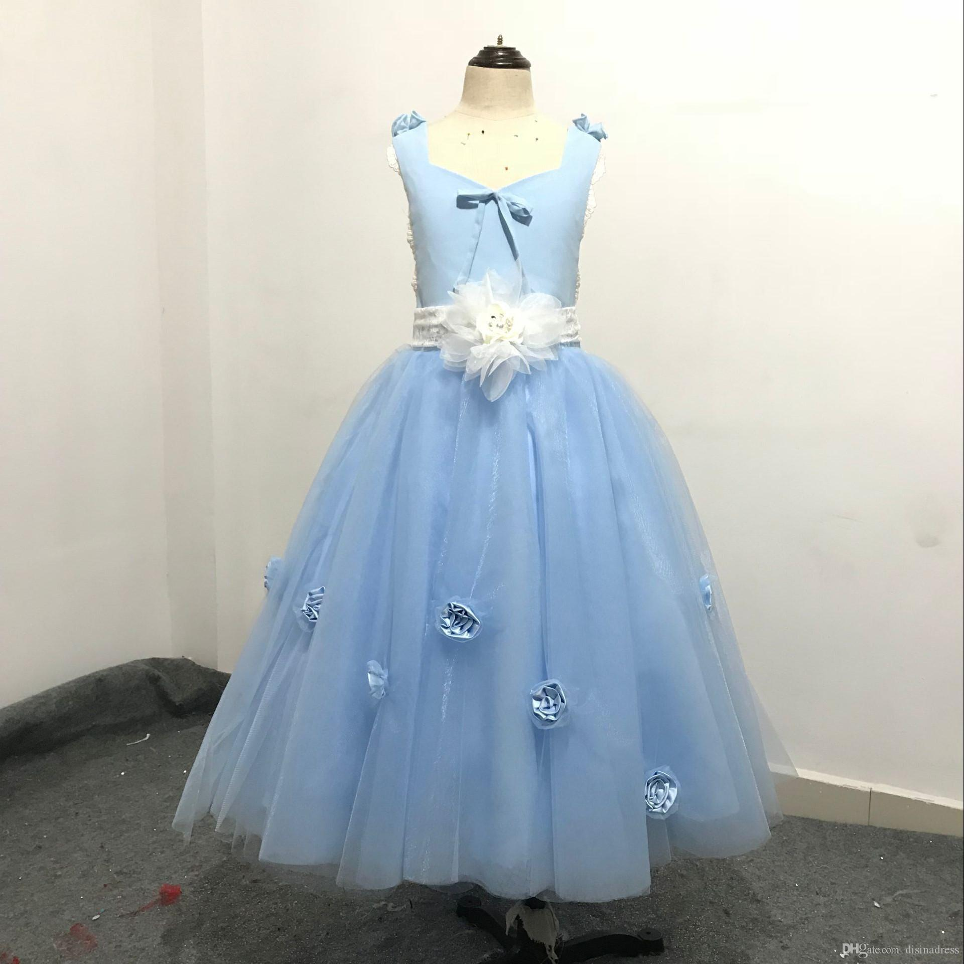 Real Picture Tulle Backless A-Line Flower Girl Dresses First Communion Dress For Little Girl A-Line Kid Birthday Party Dress Pageant Gown