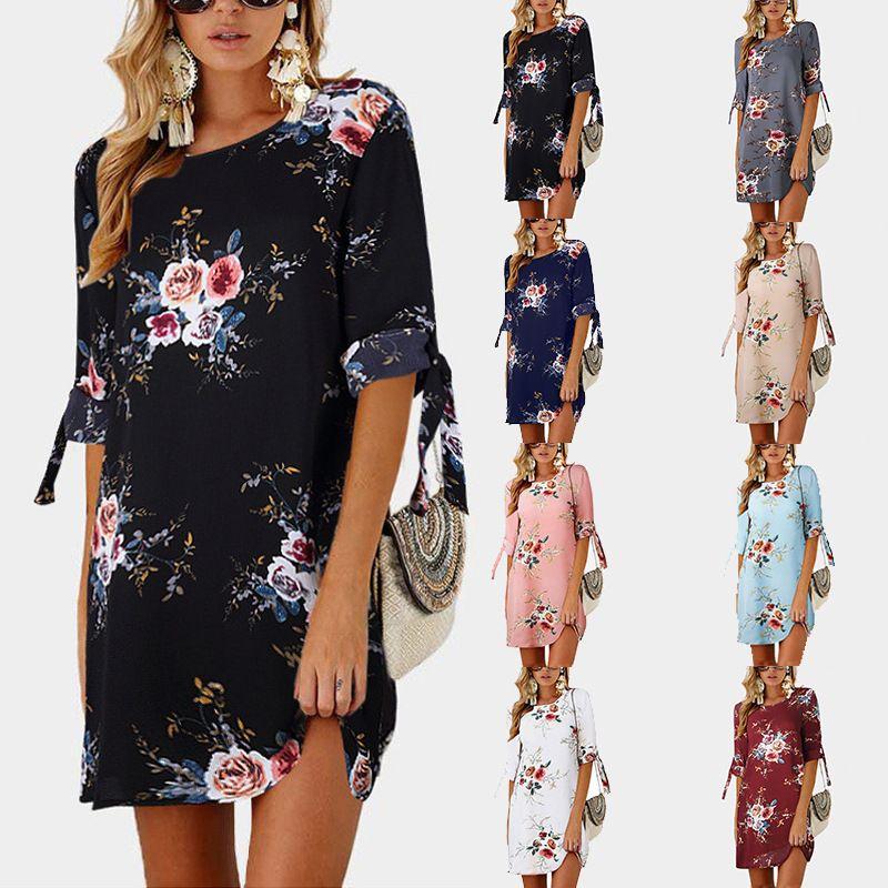 6148db85dd51f Satın Al 2018 Kadınlar Yaz Elbise Boho Tarzı Çiçek Baskı Şifon Plaj Elbise  Tunik Sundress Gevşek Mini Parti Elbise Vestidos Artı Boyutu 5XL, $20.5 |  DHgate.