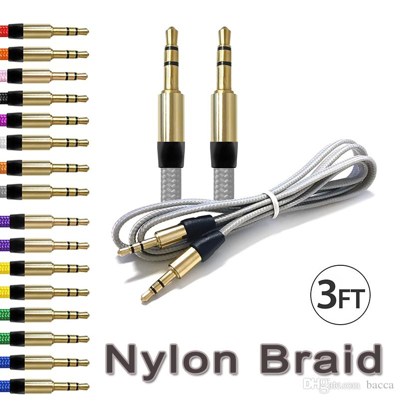 3FT Nylon Braid AUX Kabel 3,5 mm Klinke Stecker auf Stecker Auto Aux Aux Kabel Klinke Stereo Audio Kabel für Telefon iPod