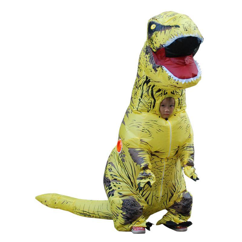 Kids T-REX Inflatable Costume Christmas Party Mascot Orange Yellow Dinosaur Animal Jumpsuit Halloween for Children LJ-010