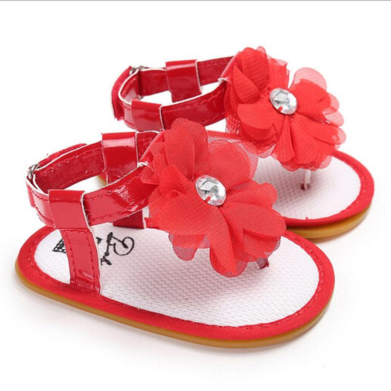 a3b56b49ade2e Newborn Baby Kids Girl Soft Soled Crib Shoes Floral Shoes Prewalker Sandals  Clogs Black Pink Red 0-18 Months
