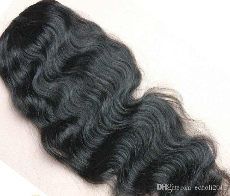 New Dark brown long high body wave drawstring ponytail human hair extension clip in wavy pony for natural hair #