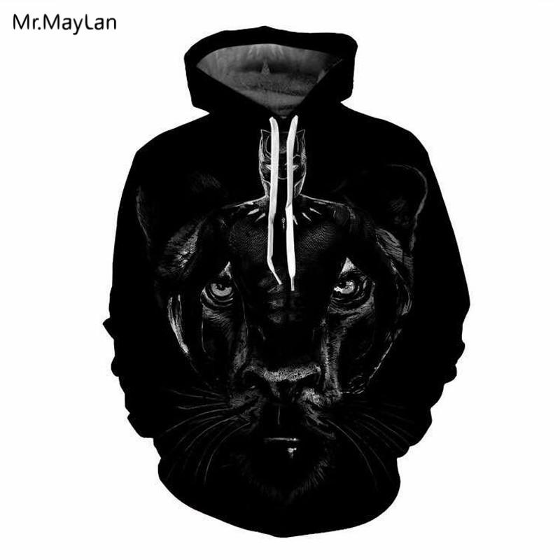 Movie Marvel Black Panther Cool Print 3D Jacket Men/Women Cosplay Hiphop Pullover Hat Sweatshirts Hoodies Boys Black Clothes 5XL