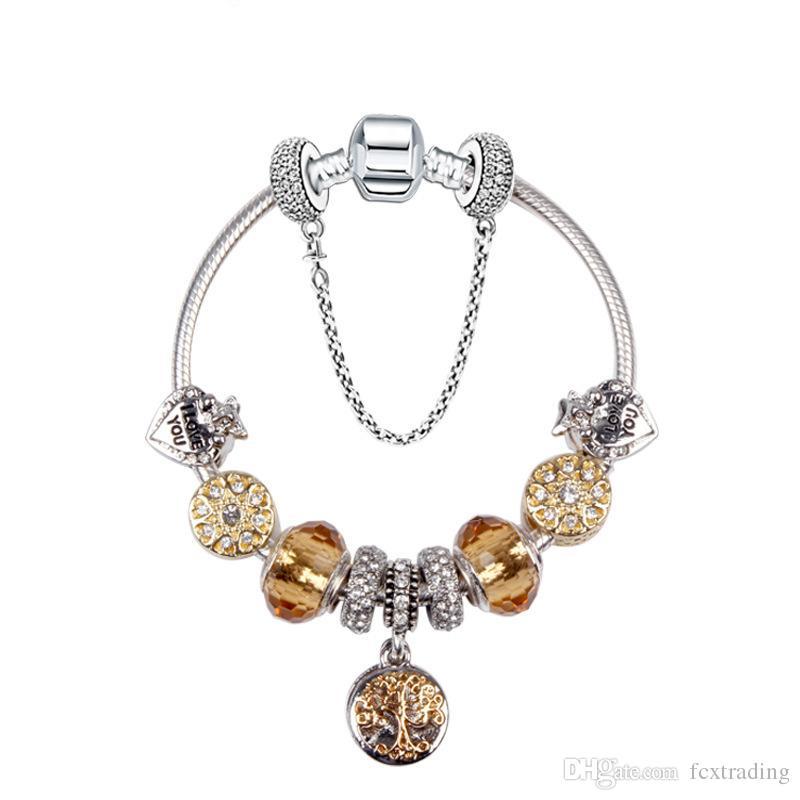Grânulos charme pulseira 925 pulseiras de prata pandora vida árvore pingente charme pandora talão de ouro como presente diy jóias com logotipo