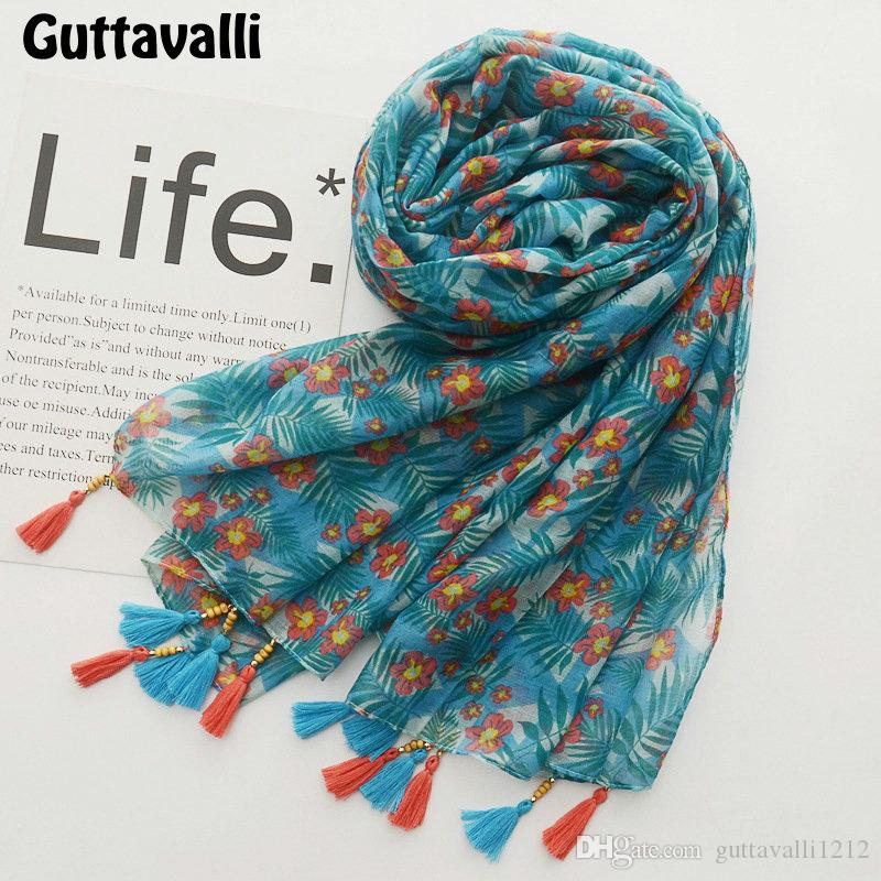 Guttavalli Women Green Small Flowers Long Shawl Female Cotton Wood Beads Print Scarf Bohemia Chevron Floral Decoration Scarves
