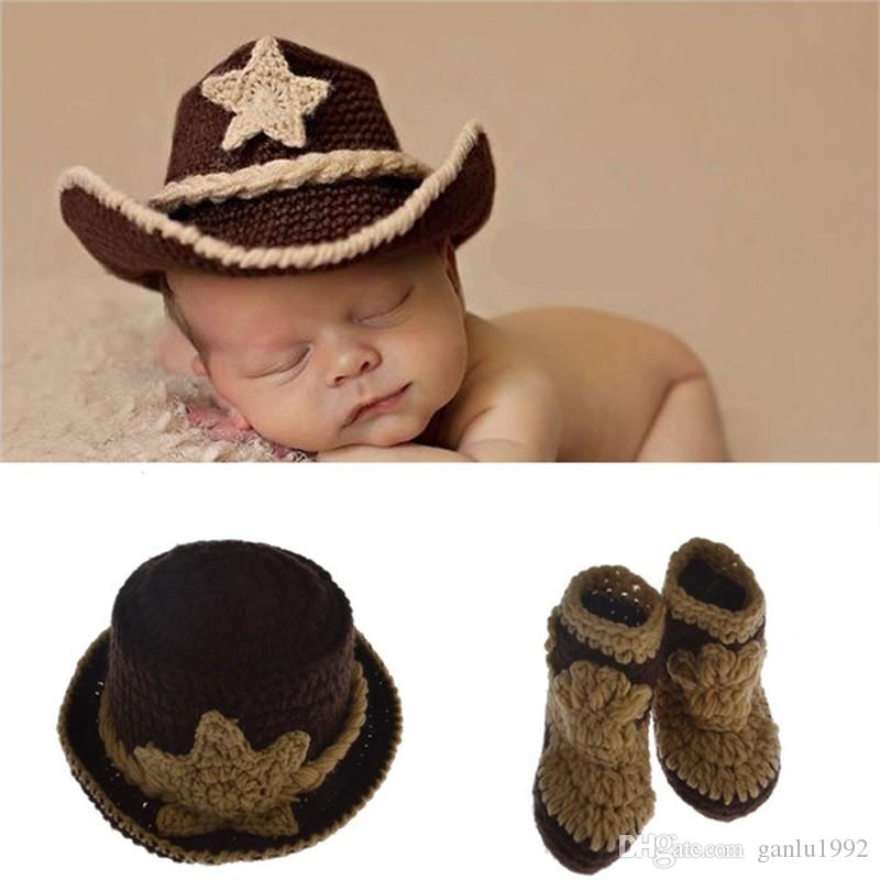 7c5659cde Newborn Baby Hats West Cowboy Photography Props Design Cap And Shoes  Elasticity Costume Crochet Cute Kids Clothing 12dh WW