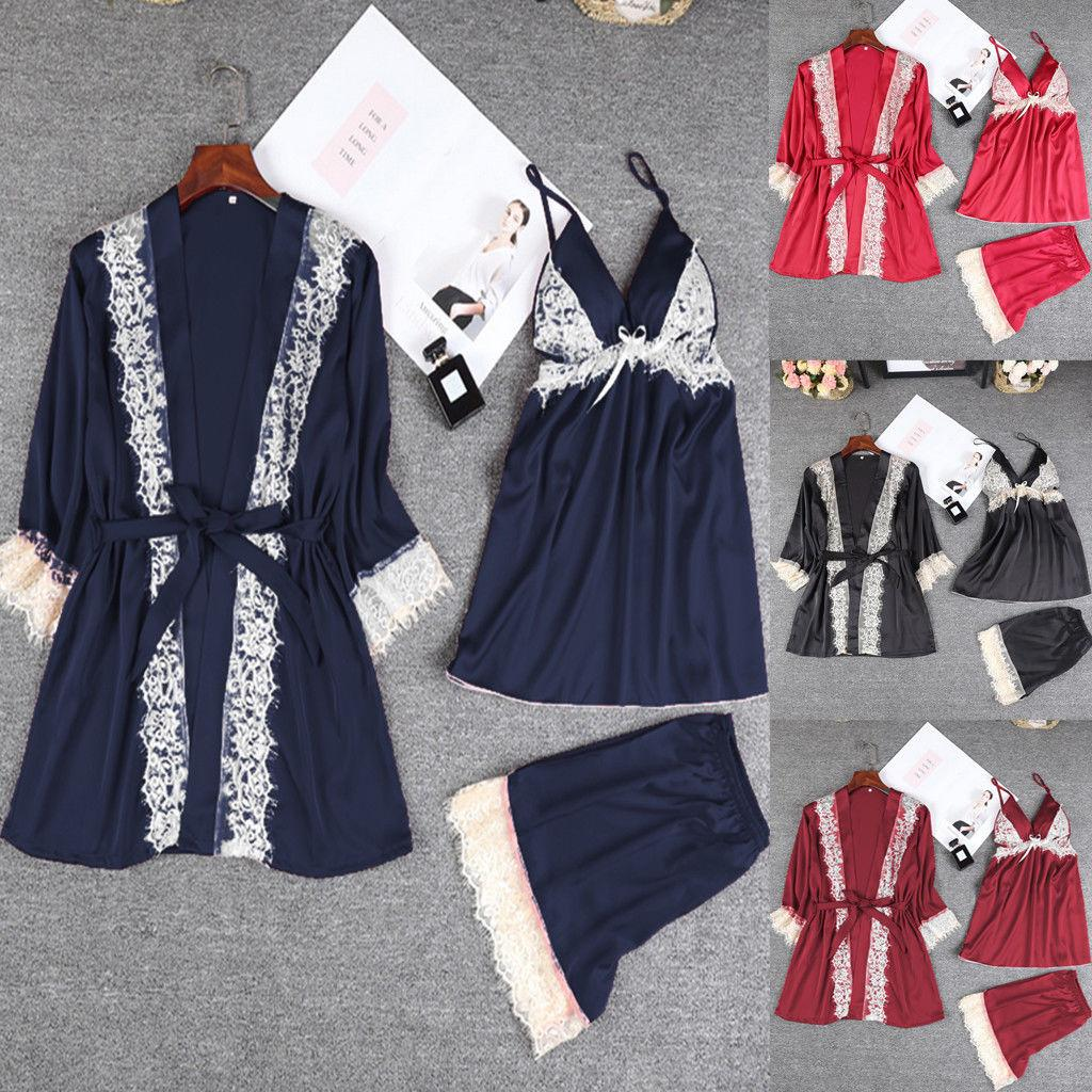 2018 New Style Women Satin Lace Sleepwear Babydoll Lingerie Underwear  Shorts Tops Robe Gown Sets Summer UK 2019 From Cailey 32f0bb06c