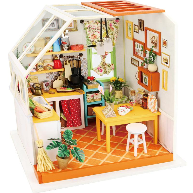 Diy Doll House Miniature Dollhouse With Furnitures Wooden Toys Manual Assembly Model For Children JasonS Kitchen Dg105 Barbie Sale