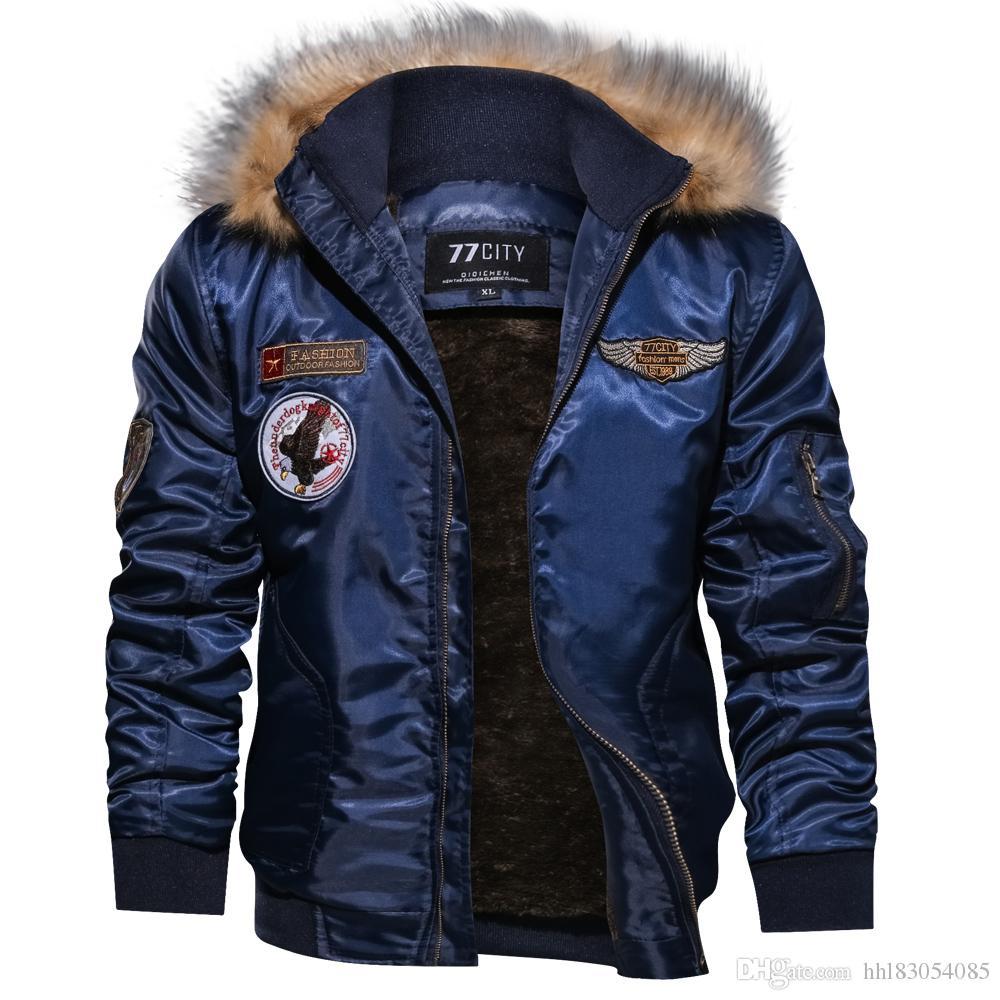 55fff2d3abf New 2019 Men s Winter Coat Fashion Loose Casual Cotton Hooded Plus Velvet  Men Flight Padded Jacket Men s Winter Coat Men Padded Jacket Men Flight  Jacket ...
