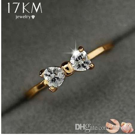 6bed57da9 17KM Fashion Austria Crystal Rings Gold Color Finger Bow Ring ...