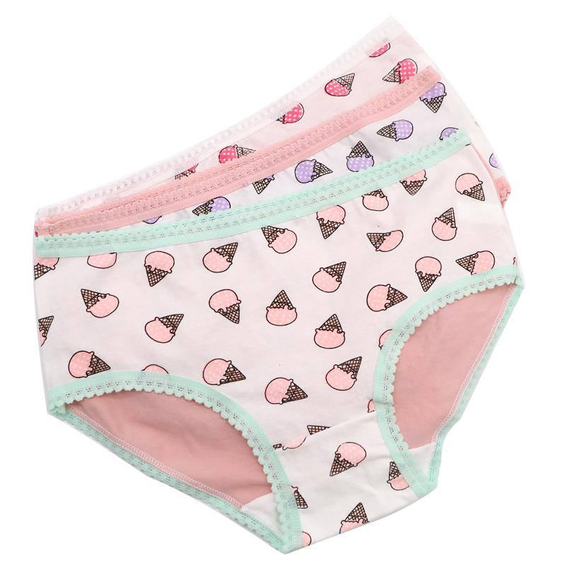 Women Sexy Briefs Underwear Ice Cream Cute Pattern Panties Seamless Intimates Panties Ladies Casual Lingerie Underpants