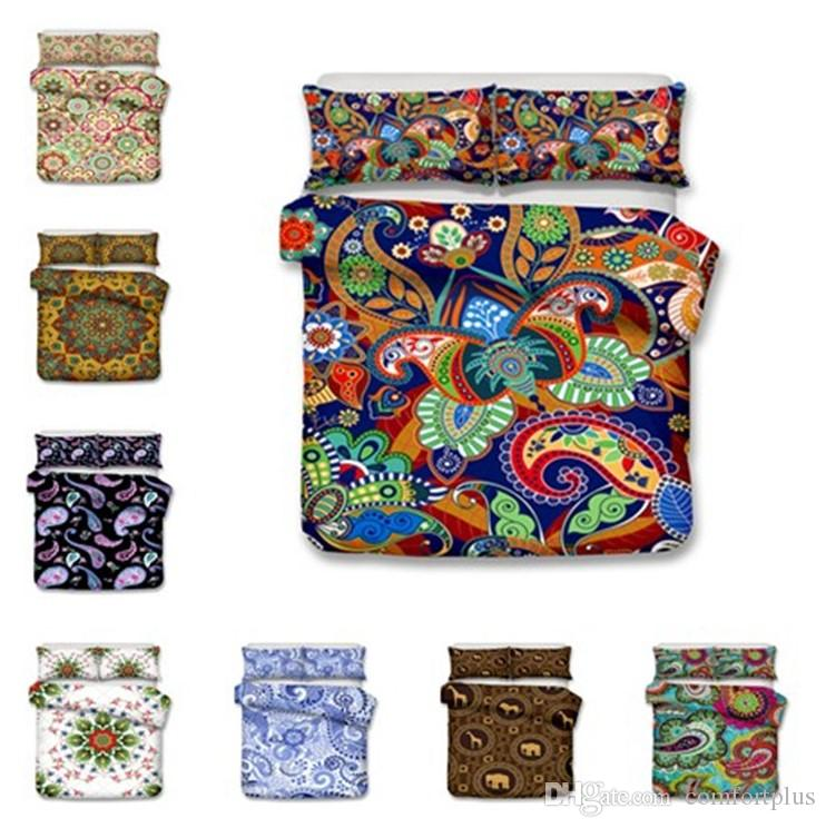 New 14 Design 3D Bohemia Bedding Set 2PC/3PC Duvet Cover Set Of Quilt Cover & Pillowcase Twin Full Queen King Size