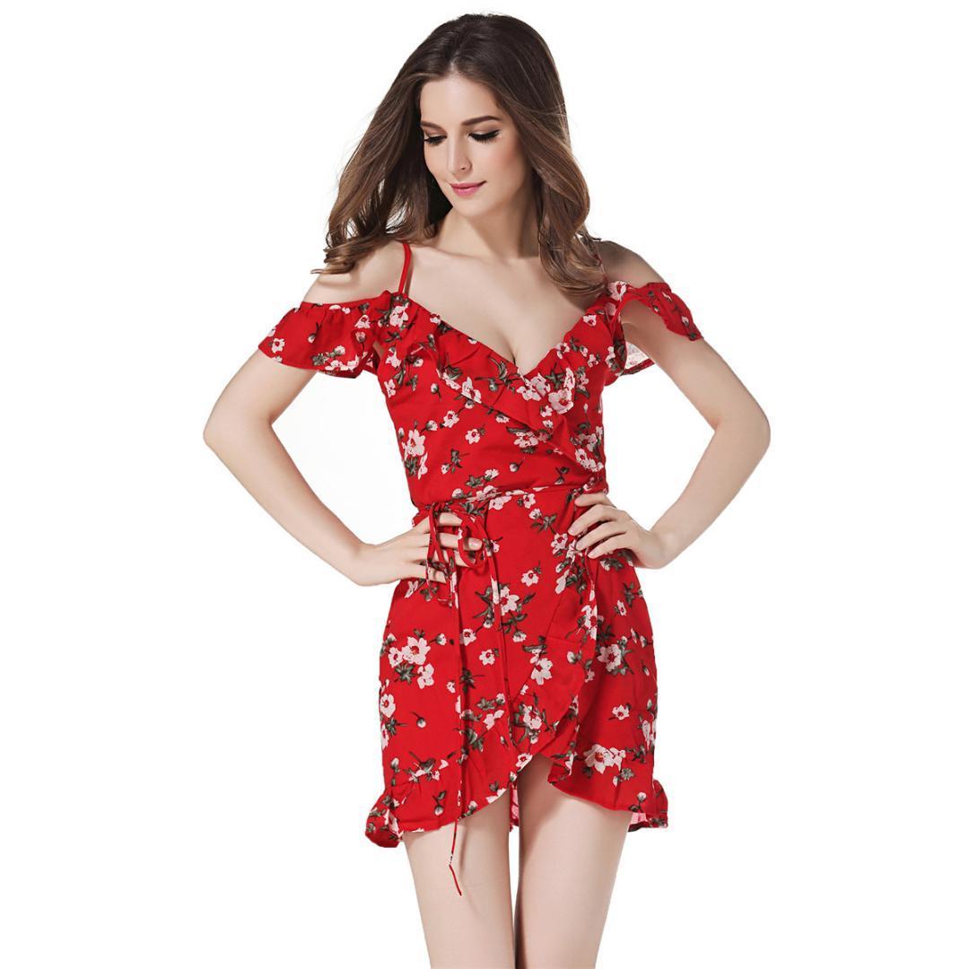 eb870d3588 Compre Afrodite Casa Imprimir Sexy Ruffles Vestido De Verão Praia Irregular  Cinto Envoltório Vestido Curto Mulheres V Neck Strap Chiffon Vestidos De ...