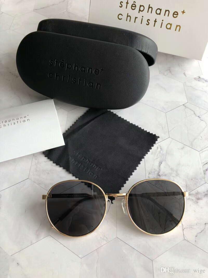 514da42f448c Stephane Christian Black Round Sunglasses Cantabile Black Gold Sunglass  Brand New With Case Sunglasses For Men Prescription Glasses From Wige