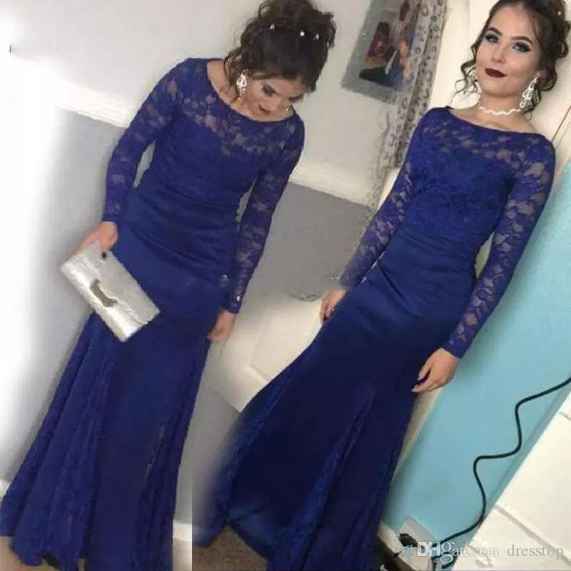 5b7ca102ae44 Royal Blue Full Lace Mermaid Evening Dresses Long Sleeve Bateau Neck Floor  Length Illusion Prom Dress Split Long Saudi Arabric Formal Dress Maxi  Evening ...