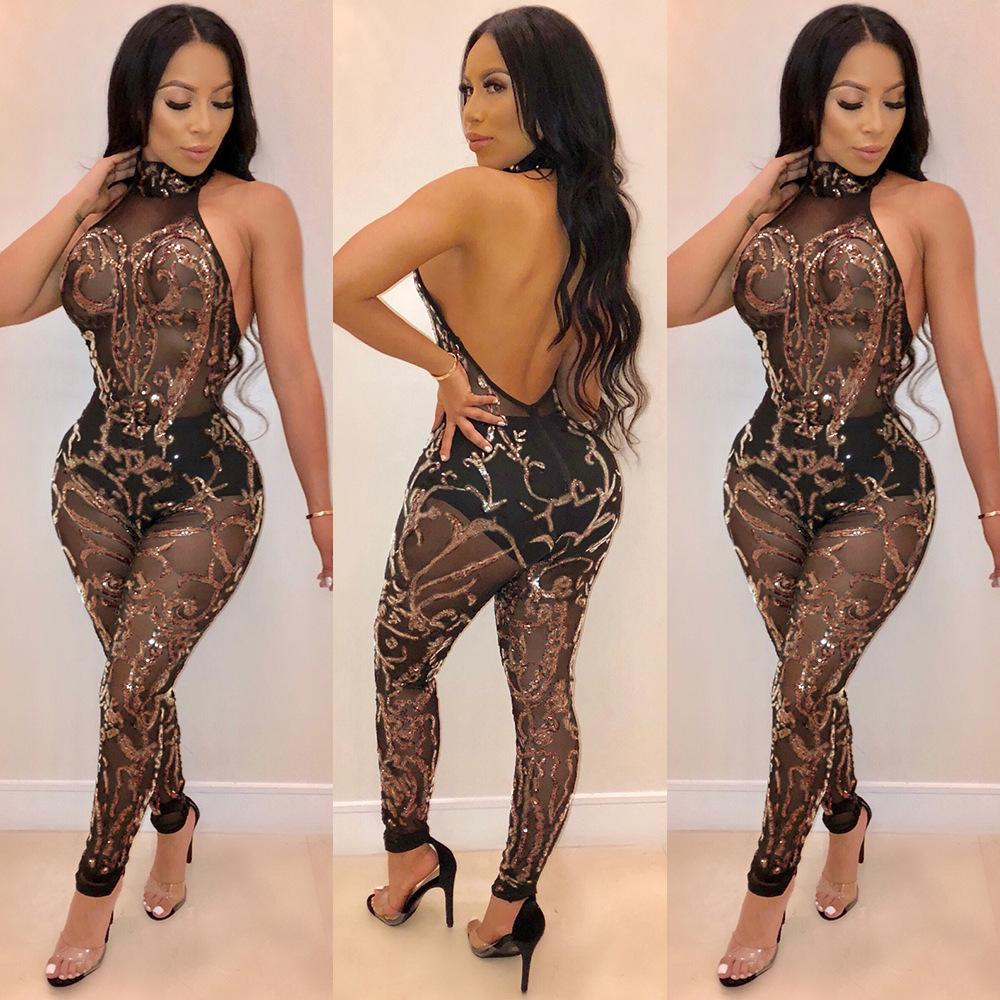 2019 Womens Sequins Sheer Mesh Halter Jumpsuit 2018 New Arrived Sexy  Backless Bandage Jumpsuits Night Club Wear Party Romper Fashion Overalls  From Sherry522 ... 77587de2be7f