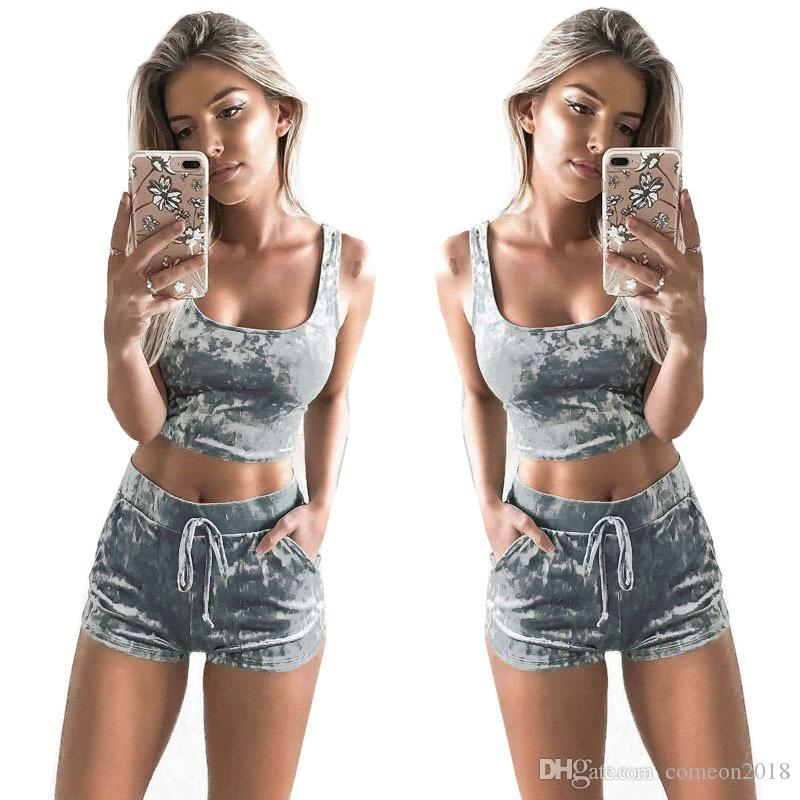 391540fcee13 2019 Women Clothes Tracksuits Two Piece Set Crop Top And Shorts Set Velvet  Velour Outfit Tank Top Drawstring Track Suit Sporting Fitness Clothing From  ...
