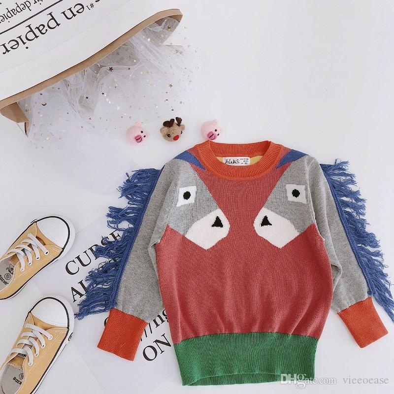 aeebe189c912a9 Vieeoease Girls Sweater Horse Pullover 2018 Autumn Winter Fashion Knitting  Long Sleeve Cute Tassels Girls Clothing EE 725 Toddler Sweaters To Knit  Hand ...