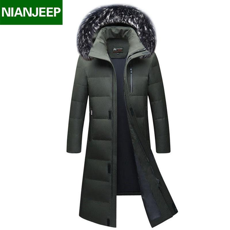 8afa28e88bbd4 2019 Top Quality Winter Men'S Long Design White Duck Down Jackets Mens  Fashion Thick Warm Big Fur Collar Hooded Parkas Outerwear 98 From  Vanilla03, ...