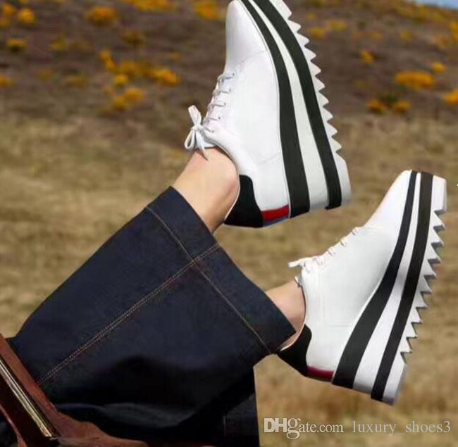 2018 Hot Sale! Stella Mccartney Shoes Top Quality Genuine Leather Women Fashion Platform Wedge Platform Oxfords Boost Sneakers 44F1