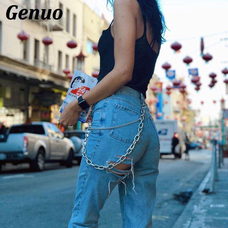 40176a9e1a6 2019 Genuo Ripped Hole Denim Jeans Women Metal Chain Long Pants Female  Skinny Streetwear Trousers 2018 Autumn Winter Jeans From Xiayuhe, $41.58 |  DHgate.Com