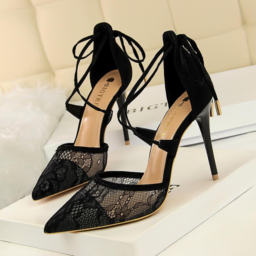 9bc5237b513 Sexy Fashion Lady Brand Lace Stiletto High Heel Party Dress Shoes Shallow  Mouth Pointed Toe 10.5cm Women Pumps 1627 6 Munro Shoes Vegan Shoes From ...