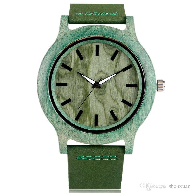 Compre Reloj De Madera Verde Reloj De Cuarzo De Bambú Natural De Grano De  Árbol Para Hombre Pulsera Regalo Popular Del Padre Reloj De Madera A  14.21  Del ... 75b14181f13f