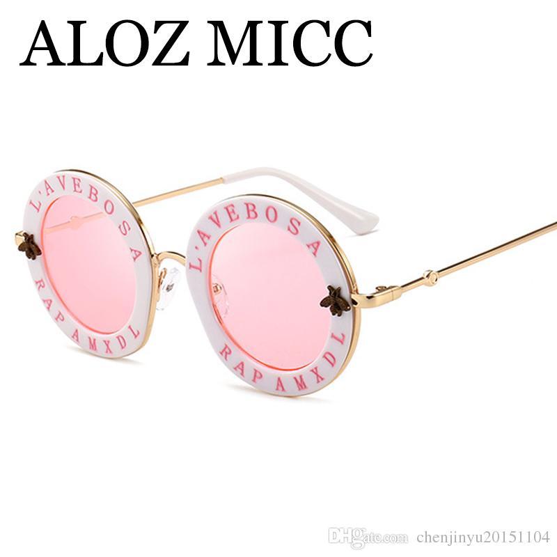 fb03a8240b Compre ALOZ MICC Moda Ronda Mujeres Gafas De Sol Diseñador De La Marca De  Alta Calidad Marco De La Aleación Vintage Gafas De Sol Mujer Oculos UV400  A526 A ...