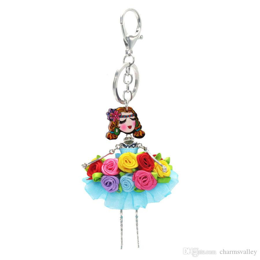 Fashion Doll Hang Pendant Neckace Colorful Lace Skirt Girls Necklace Earring For Women Girl Bag Car Accessories sku0031