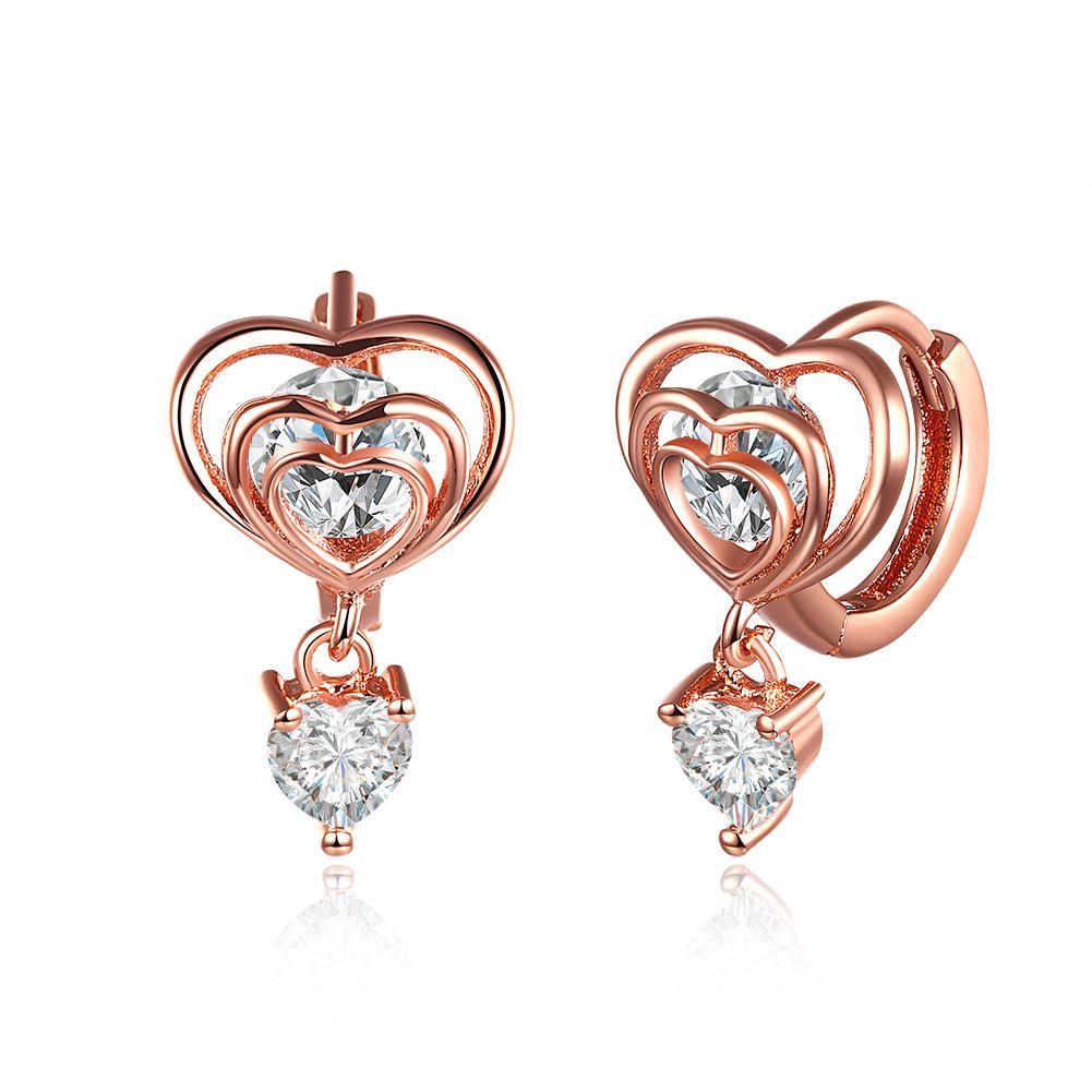 88ffb1f3cd39 Compre Precio Bajo Venta Al Por Mayor 18 K Oro Rosa Plateado Corazón  Pendientes Con Zircon Mujer Moda Joyería Clásica Regalo De San Valentín  Envío Gratis A ...