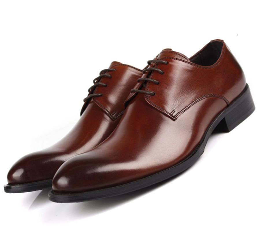 on sale 71099 59791 Tan / Schwarz / Braun Kleid Schuhe Herren Business Schuhe Aus Echtem Leder  Social Male Prom
