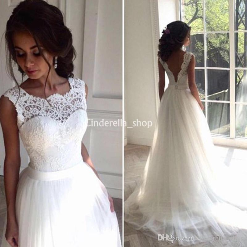 Discount Simple Western Country Wedding Dresses 2019 Sheer Neck Appliques  Lace Open Back A Line Beach Robe De Mariee Bridal Gowns Cheap Customized  Wedding ... 9d7469fc0dc0