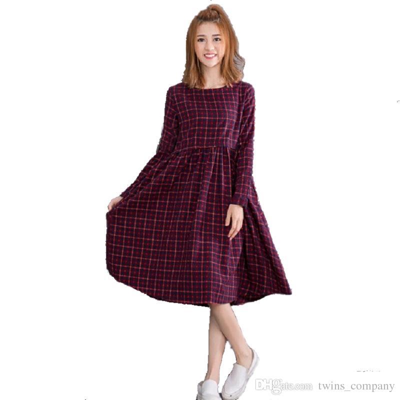df8231d434c0f Vintage Spring Autumn Women Midi Dress Fashion O Neck Plaid Female ...