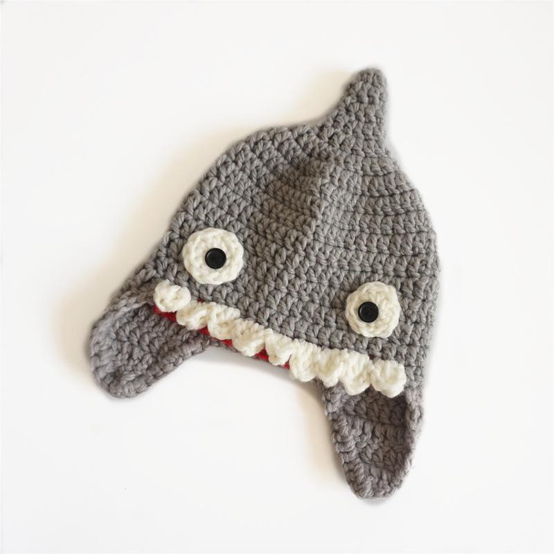 2018 2018 New Creative Shark Pattern Kintting Wool Hats For Kids