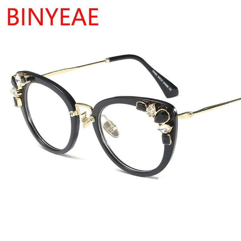 243fae6cc 2019 Round Cat Eye Frames Women Black Spectacle Eyeglasses Computer Myopia  Optical Female Diamond Vintage Clear Lens Glasses Frame From Melontwo, ...