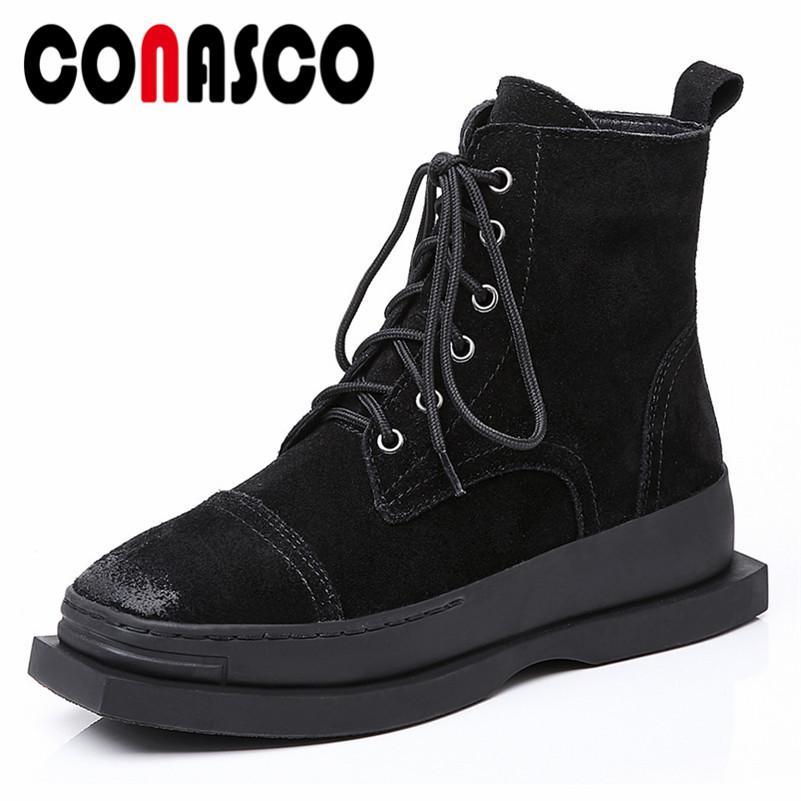 df203c78318 Compre CONASCO Punk Rock Botas De Motocicleta Negras Para Las Mujeres De  Gamuza De Vaca Corss Atado Botines Damas Otoño Invierno Zapatos De Mujer  Zapatos ...