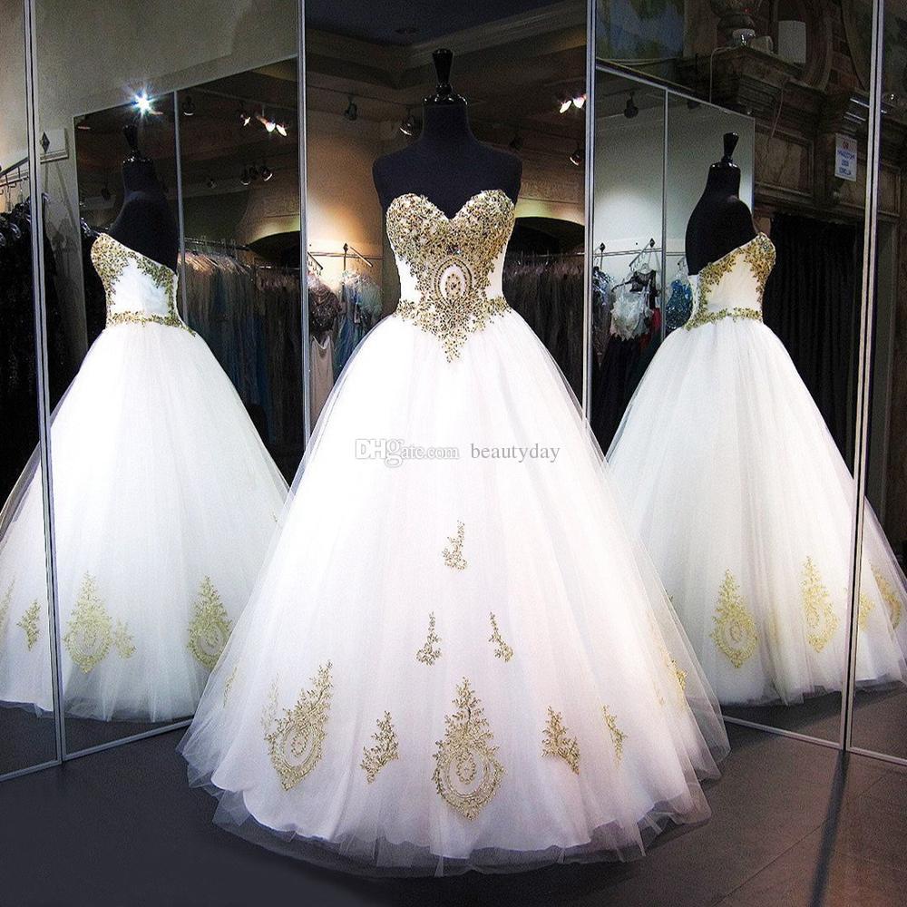 Vestidos quinceanera 2020 modest doce 16 bola vestido de grânulos de renda de ouro vestidos de baile branco tule lace up festa de aniversário vestidos de 15