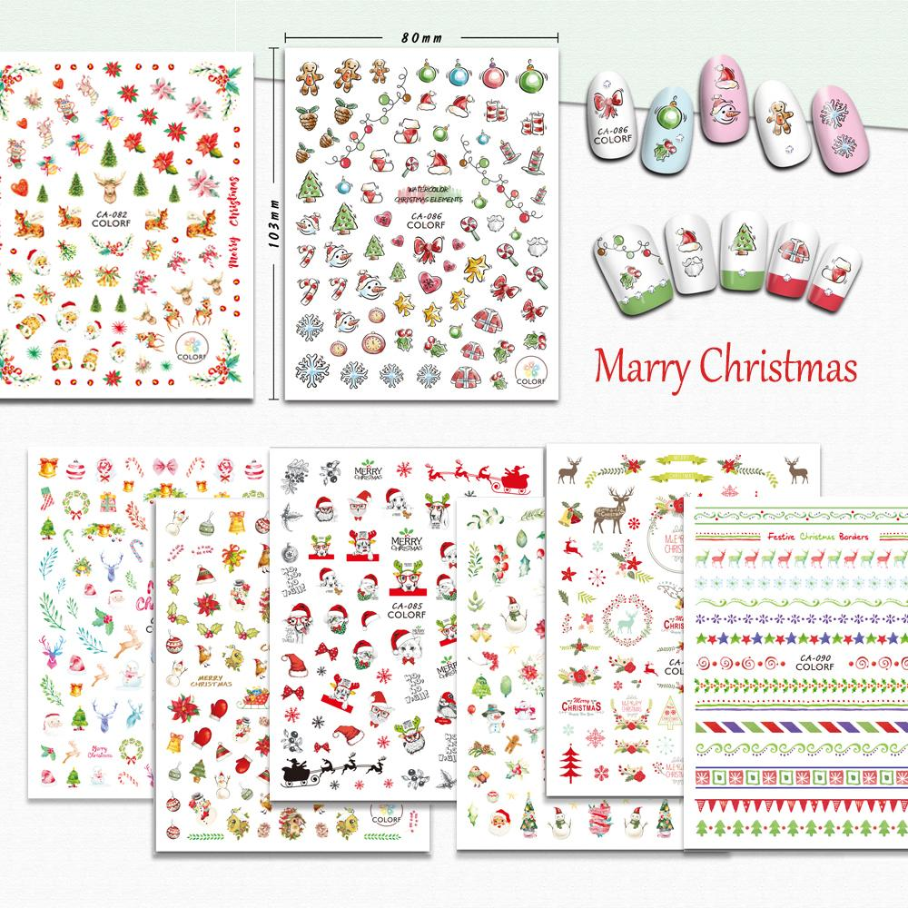 1Sheets Christmas Gift Fall Autumn Sea Designs Nail Art Stickers 3D Adhesive Decoration Manicure Decor Decals Foils TRCA073-090
