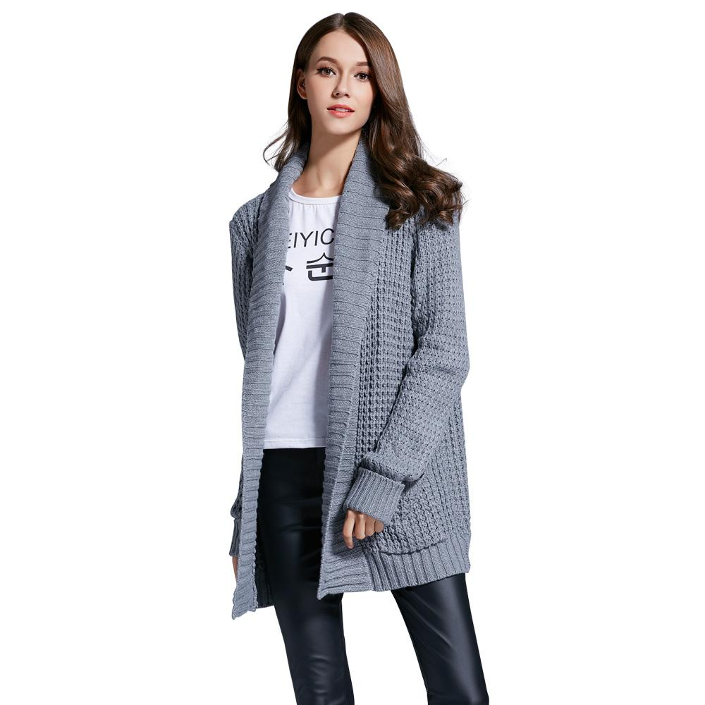 Kenancy Turn-Down Collar Cardigan Boyfriend Style Women Sweater Long Sleeves High Neck Auntum Warm Knit Sweater Coat Pull Femme